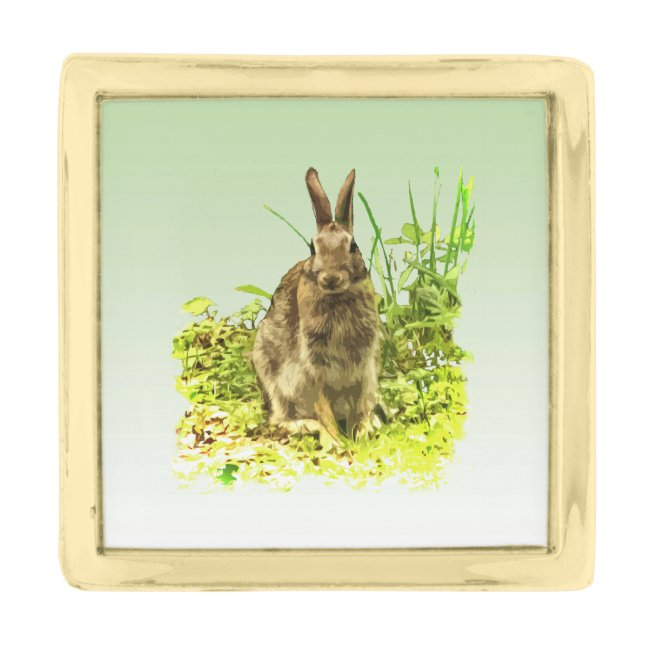 Cute Brown Bunny Rabbit in Green Grass Lapel Pin