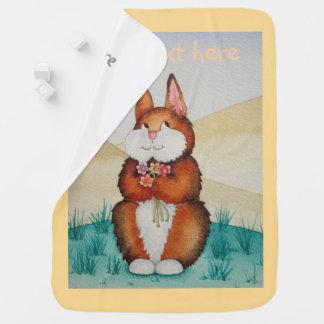 cute brown Bunny rabbit smiling flowers design Receiving Blanket