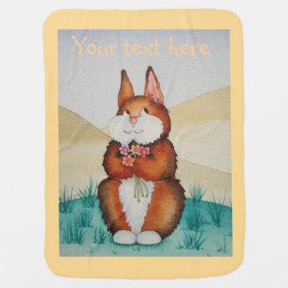cute brown Bunny rabbit smiling flowers design Stroller Blanket
