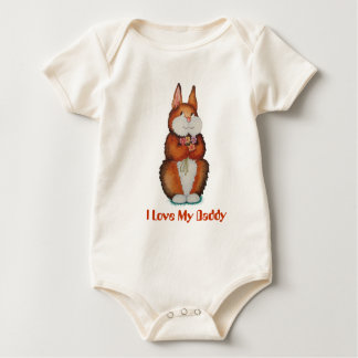 cute brown bunny rabbit with pretty flowers art baby bodysuit