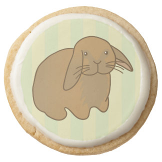 Cute Brown Bunny Round Shortbread Cookie