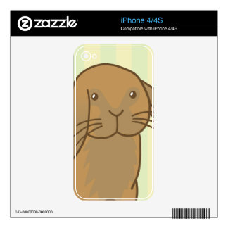 Cute Brown Bunny Skins For iPhone 4S
