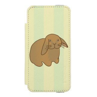 Cute Brown Bunny Wallet Case For iPhone SE/5/5s