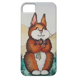 Cute brown Bunny with flowers art iphone5 case