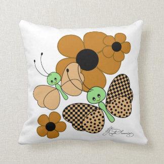 Cute Brown Butterflies And Daisies Throw Pillow