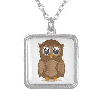 Cute Brown Cartoon Owl with Big Gleaming Eyes Pendants