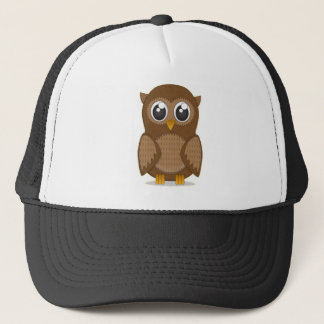 Cute Brown Cartoon Owl with Big Gleaming Eyes Trucker Hat