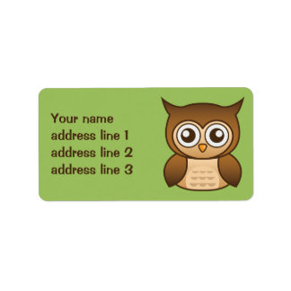 Cute Brown Cartoon Owl With Custom Address Info Label