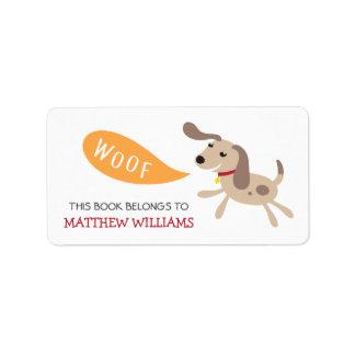 Cute brown cartoon puppy dog animal bookplate book