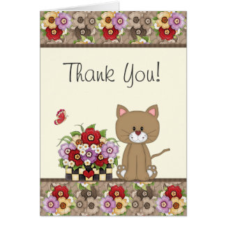Cute Brown Cat, Flowers and Butterfly Thank You Card