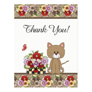 Cute Brown Cat, Flowers and Butterfly Thank You Postcard