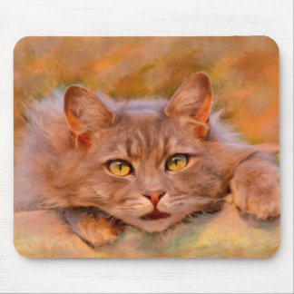 Cute Brown Cat Watercolor Oil Painting Art Mouse Pad