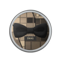 Cute Brown Checker Swag Bow Tie Bluetooth Speaker