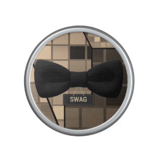 Cute Brown Checker Swag Bow Tie Bluetooth Speaker