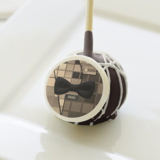 Cute Brown Checker Swag Bow Tie Cake Pops