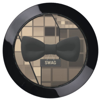 Cute Brown Checker Swag Bow Tie USB Charging Station