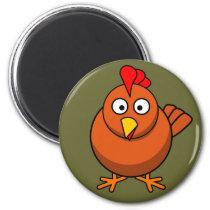 Cute Brown Chicken Fridge Magnet