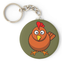 Cute Brown Chicken Keychain