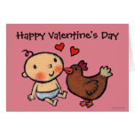 Cute Brown Chicken Peck on the Cheek for Baby Card