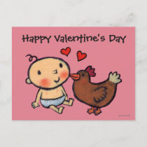 Cute Brown Chicken Peck on the Cheek for Baby Holiday Postcard