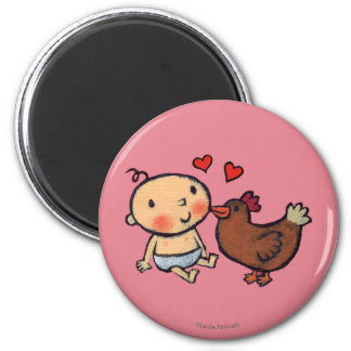Cute Brown Chicken Peck on the Cheek for Baby Magnet