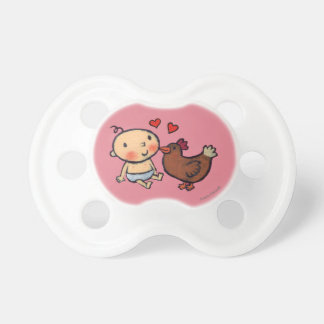 Cute Brown Chicken Peck on the Cheek for Baby BooginHead Pacifier