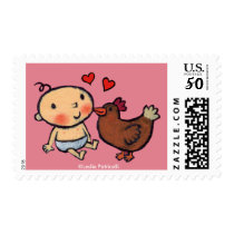 Cute Brown Chicken Peck on the Cheek for Baby Postage