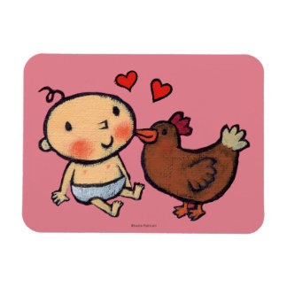 Cute Brown Chicken Peck on the Cheek for Baby Flexible Magnet