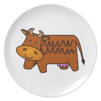 Cute Brown Cow Dinner Plate
