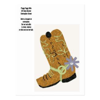 Cute Brown Cowboy Boot DIY Centerpiece Decor - Postcards