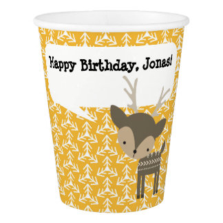 Cute Brown Deer Personalized Paper Party Cup