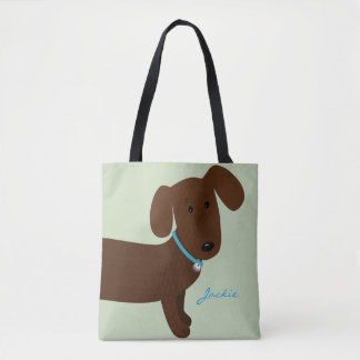 Cute Brown Doxy Front and Back Design Tote Bag