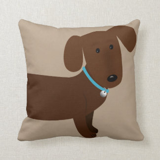 Cute Brown Doxy Front and Back Pillows