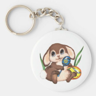 Cute Brown Easter Bunny and Eggs Basic Round Button Keychain