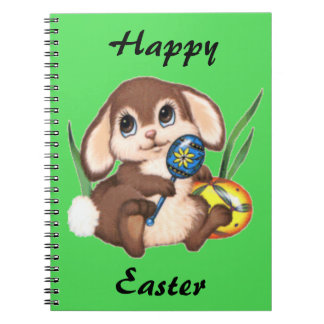 Cute Brown Easter Bunny and Eggs on Green Notebook