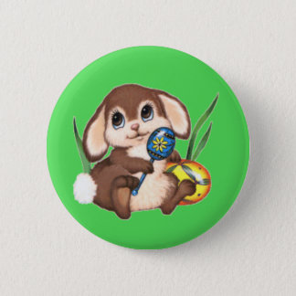 Cute Brown Easter Bunny and Eggs on Green Pinback Button