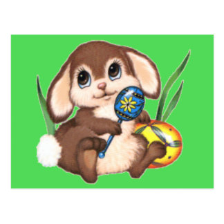 Cute Brown Easter Bunny and Eggs on Green Postcard