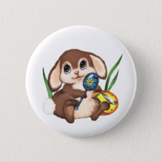 Cute Brown Easter Bunny and Eggs Pinback Button