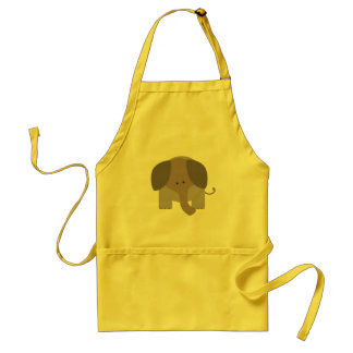Cute Brown Elephant Adult Apron