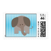 Cute Brown Elephant stamp