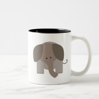 Cute Brown Elephant Two-Tone Coffee Mug
