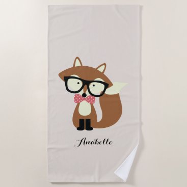 Beach Themed Cute Brown Fox Beach Towel