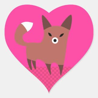 Cute Brown Fox Heart Sticker