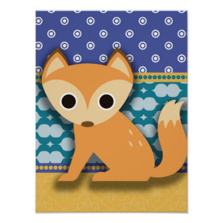Cute Brown Fox on Blue Teal and Yellow Patterns Poster