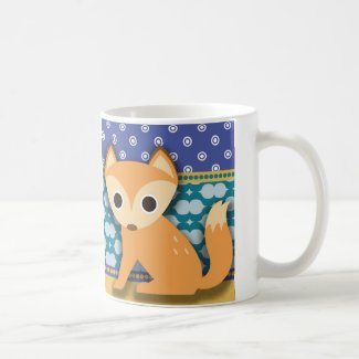 Cute Brown Fox on Blue Teal Gold Coffee Mug