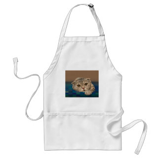 Cute Brown Furry Cat with Honey Eyes Adult Apron