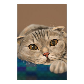 Cute Brown Furry Cat with Honey Eyes Stationery