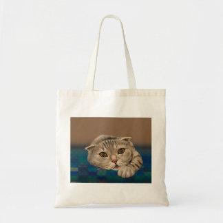 Cute Brown Furry Cat with Honey Eyes Tote Bag