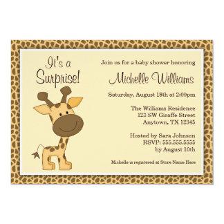 Cute Brown Giraffe Gender Neutral Baby Shower 5x7 Paper Invitation Card