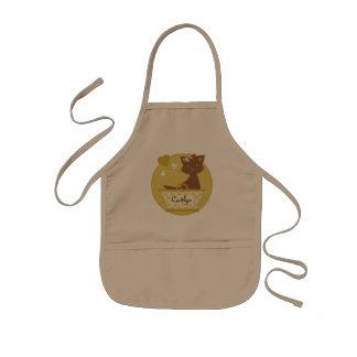 Cute brown girly kitten in yellow basket kids' apron